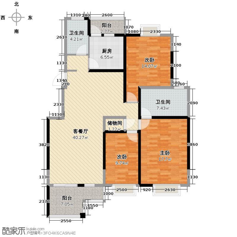 华都B区124.53㎡1储藏间带空间花园3A户型10室