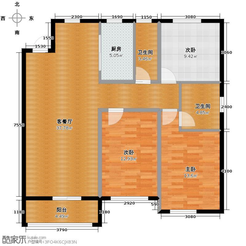 纳帕名门129.23㎡高层G7户型3室2厅2卫
