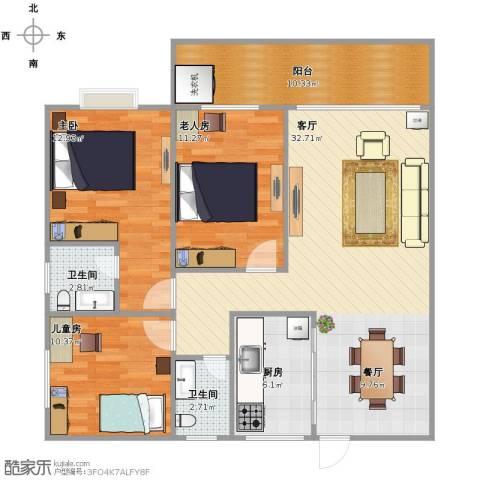 德丰花园3室1厅2卫1厨119.00㎡户型图