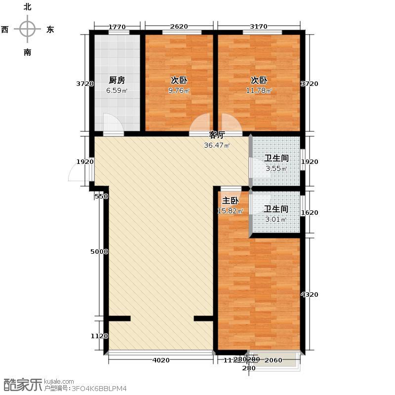 晟地丽江119.00㎡4号楼标准层J户型3室2厅2卫