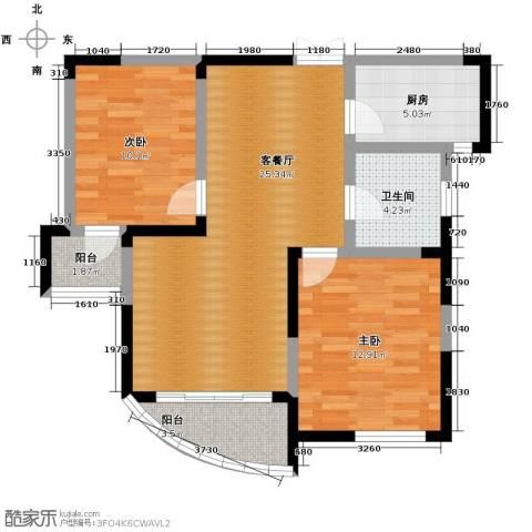 水墨兰庭2室1厅1卫1厨92.00㎡户型图