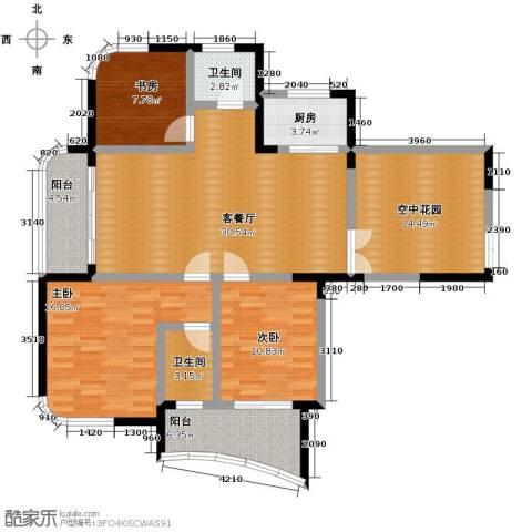 水墨兰庭3室1厅2卫1厨145.00㎡户型图