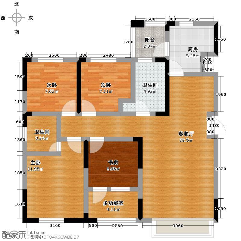益田枫露122.76㎡C1户型4室2厅2卫