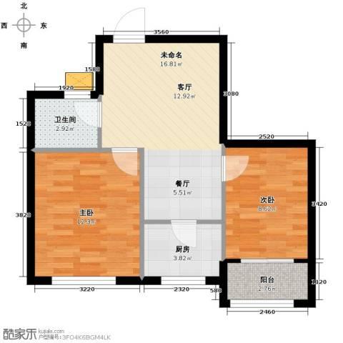 亚都名苑三期2室0厅1卫1厨65.00㎡户型图