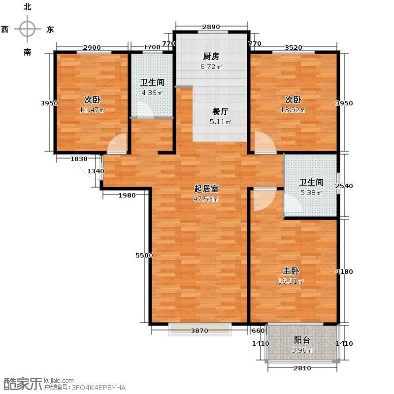 海龙湾136.88㎡K户型3室2卫