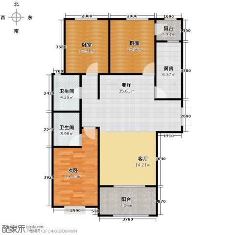 百岛绿城3室2厅2卫0厨130.00㎡户型图