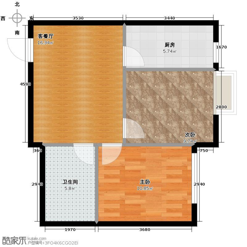 新湖御和园70.72㎡E2户型2室2厅1卫