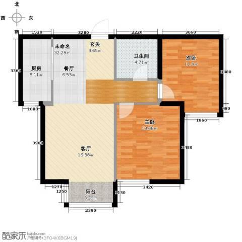 亚都名苑三期2室0厅1卫1厨90.00㎡户型图