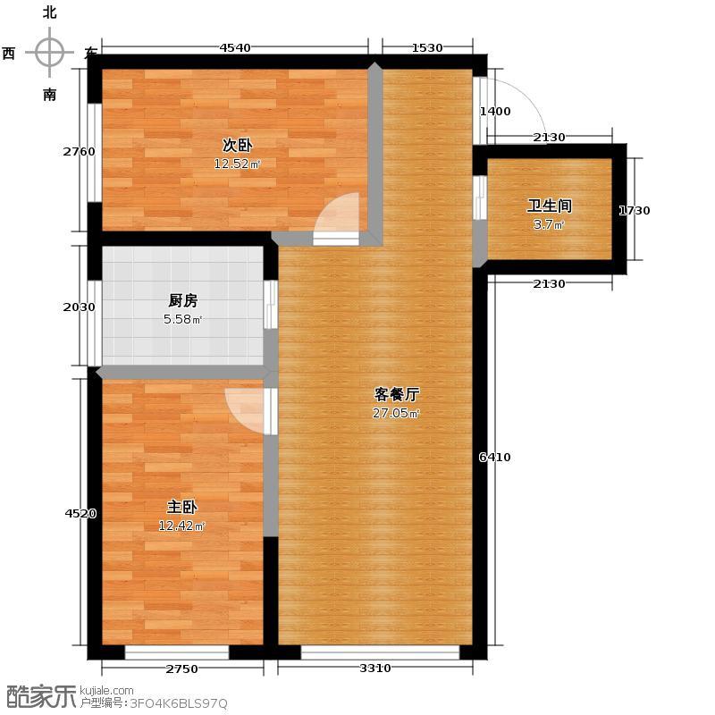领域佳境90.33㎡3号楼I户型1室2厅1卫
