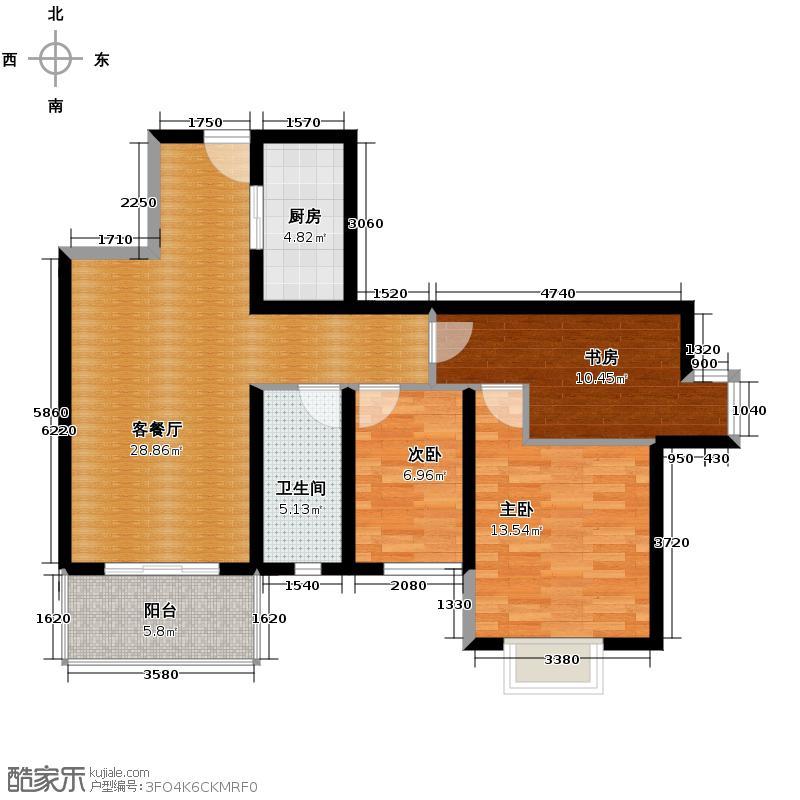 马街摩尔城86.60㎡户型3室1厅1卫1厨
