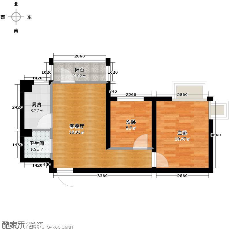 乐城63.67㎡G8a户型2室1厅1卫