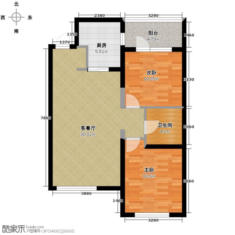 华润置地凯旋门94.00㎡户型2室1厅1卫1厨