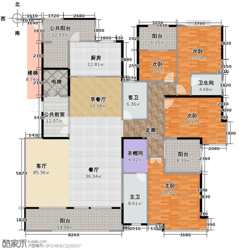 保利中央公馆264.00㎡5栋02户型4室2厅3卫