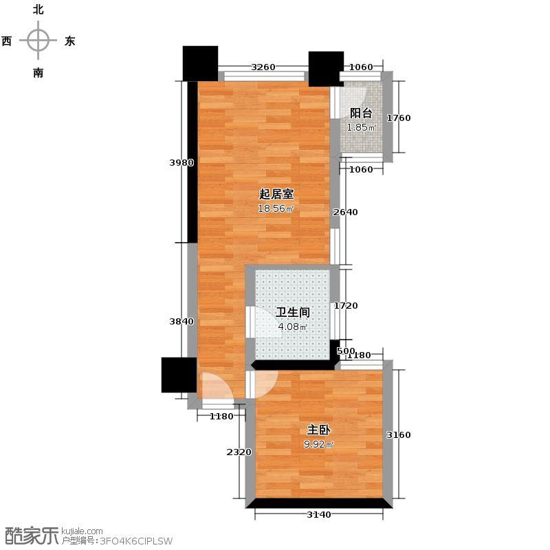 达人联盟46.76㎡B户型1室1厅1卫