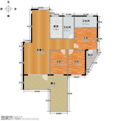 中央湖畔3室1厅2卫1厨135.34㎡户型图