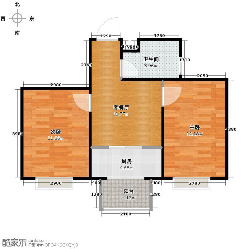 假日普罗旺斯56.08㎡户型2室1厅1卫