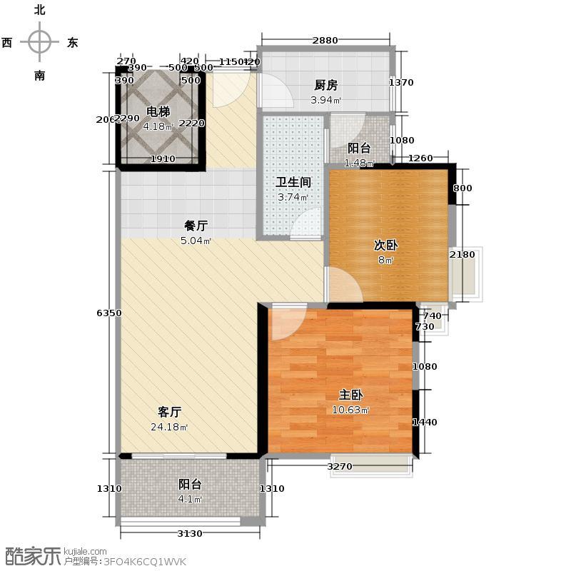 上林一品73.00㎡2栋1座2-18层04单位户型2室2厅1卫