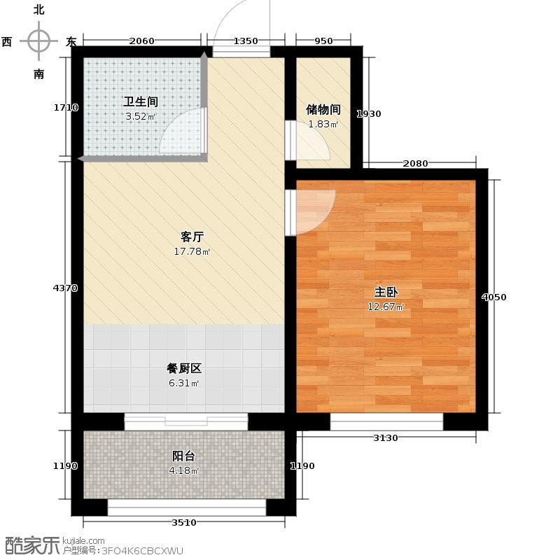 富城国际花园46.14㎡二期住宅-户型1室1厅1卫