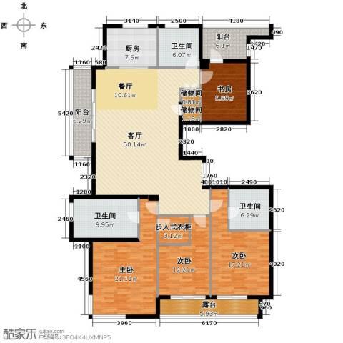 新华园4室1厅3卫1厨208.00㎡户型图