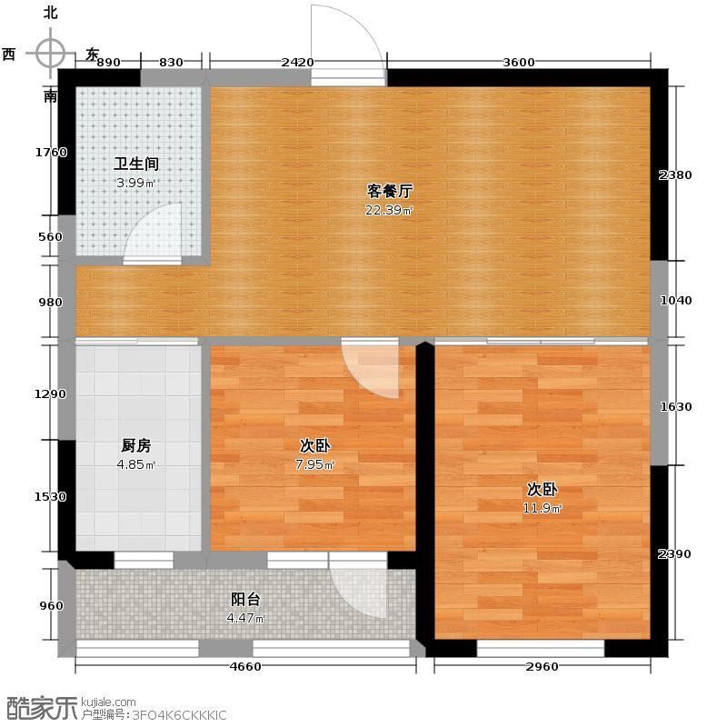 澳海西湖印象74.00㎡B区h-01户型2室1厅1卫1厨