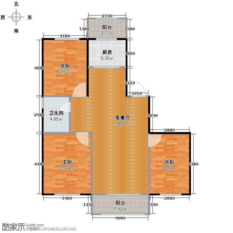 假日普罗旺斯110.03㎡户型3室1厅1卫1厨