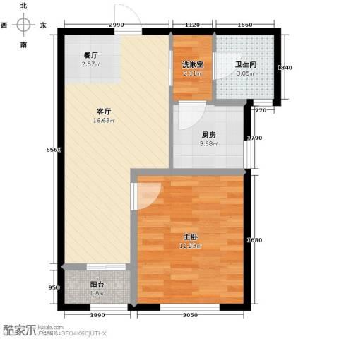 景星花园1室2厅1卫0厨44.04㎡户型图