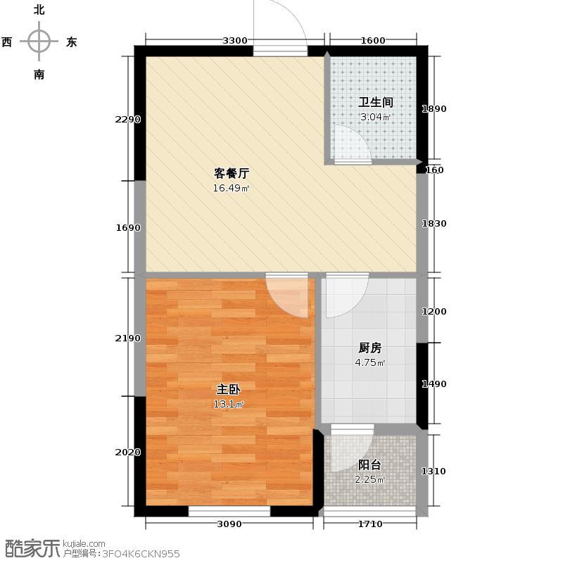 澳海西湖印象55.00㎡C区高层R2户型1室1厅1卫1厨