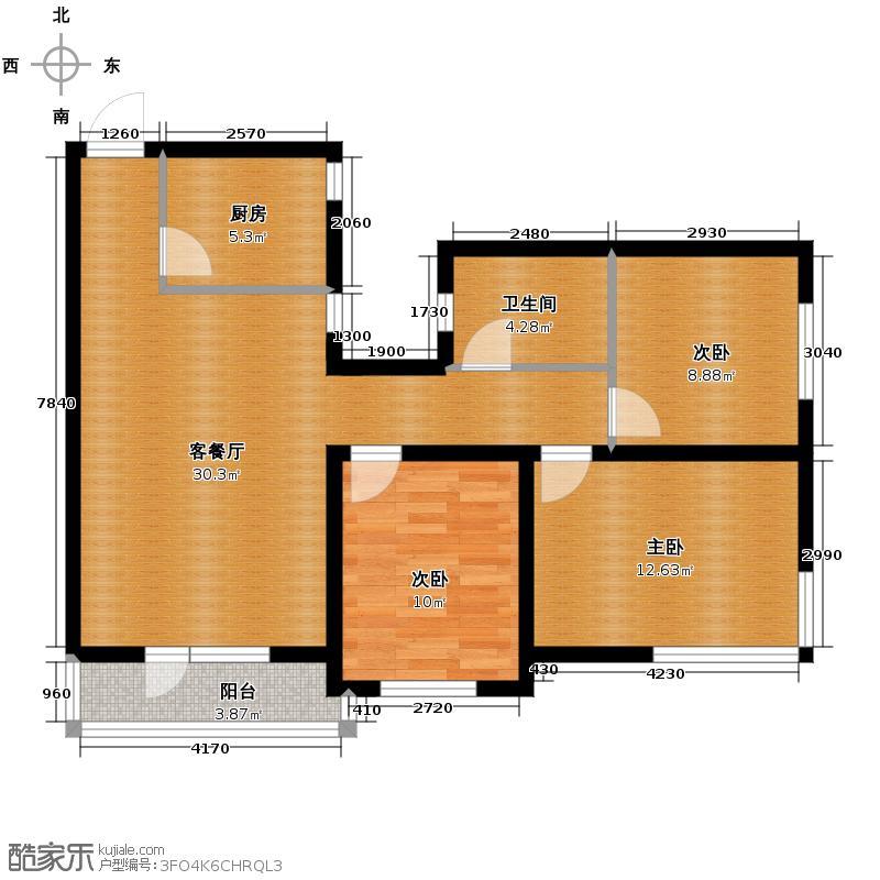 铁西万达广场86.32㎡户型3室1厅1卫1厨