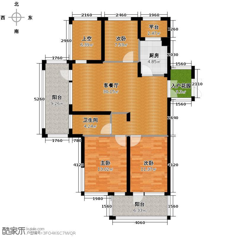 千岛湖柏润国际花园105.42㎡C1奇数层5号楼户型3室2厅1卫