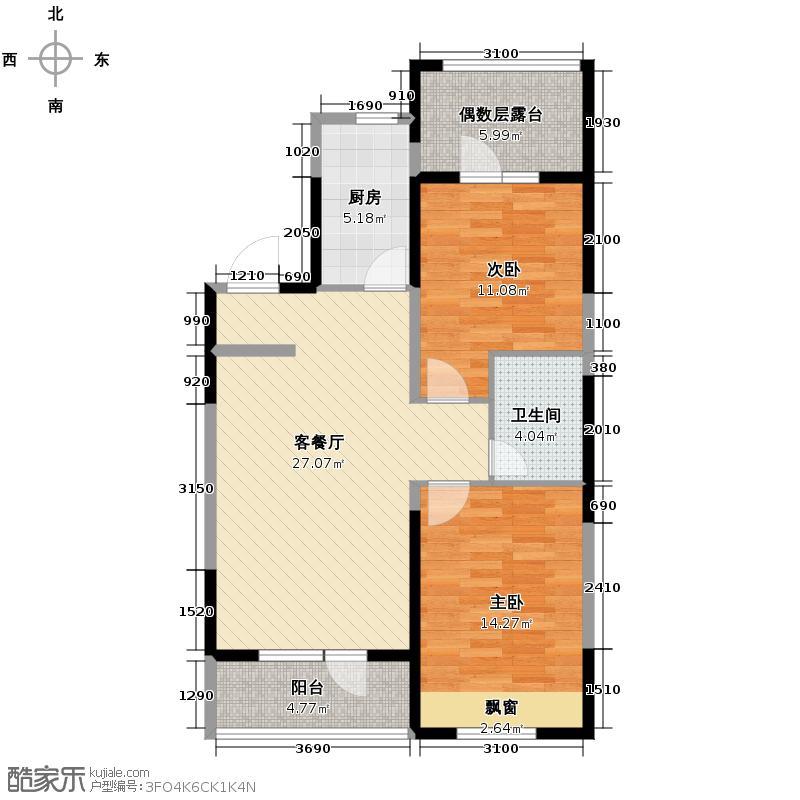 澳海西湖印象88.00㎡C区高层R3户型2室1厅1卫1厨
