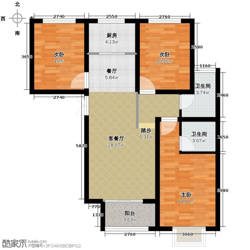 华基君程117.00㎡3F户型3室1厅2卫1厨
