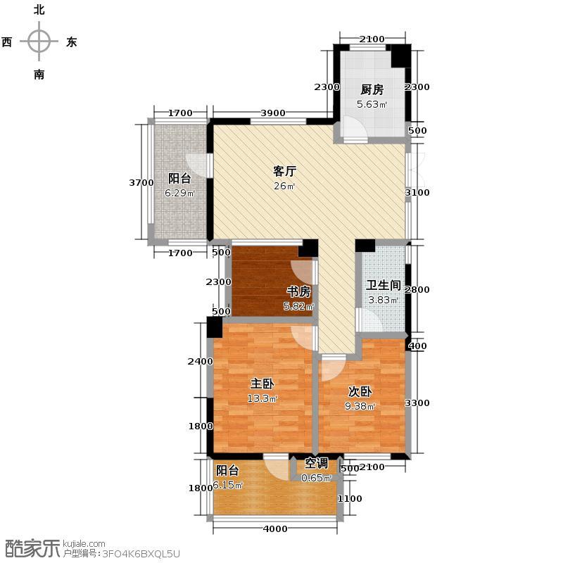 赞成檀府89.00㎡1、15号楼西边套A1偶数层户型3室2厅1卫