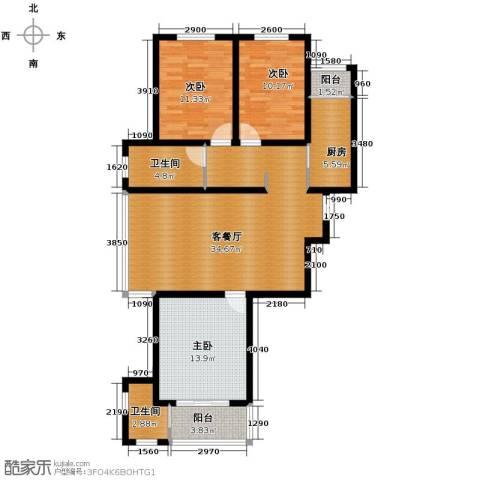 橙悦城3室2厅2卫0厨125.00㎡户型图
