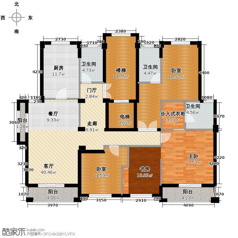 百家乐西园174.33㎡平层官邸六层户型10室