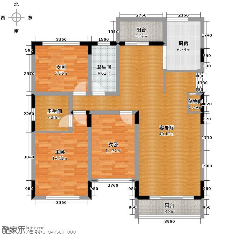 西墅锦园130.60㎡I户型3室2厅2卫