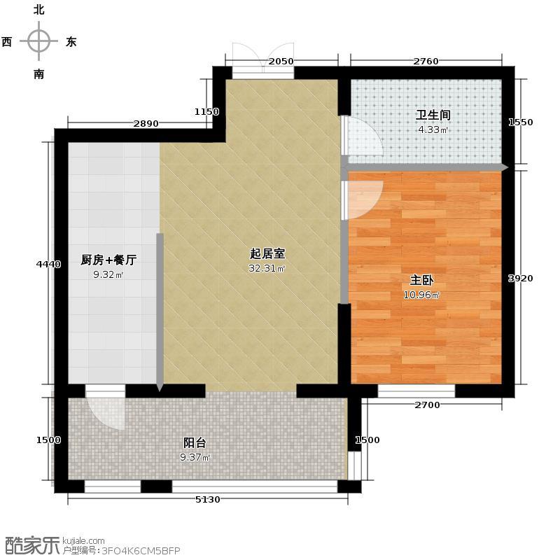 好民居滨江新城40.25㎡E1、E3栋户型1室1厅1卫