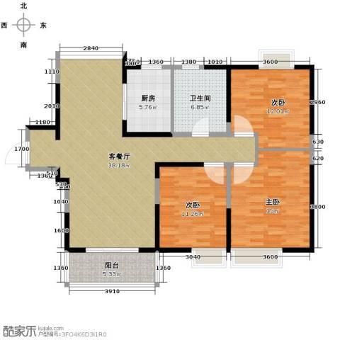 中铁滨湖名邸3室2厅1卫0厨121.00㎡户型图