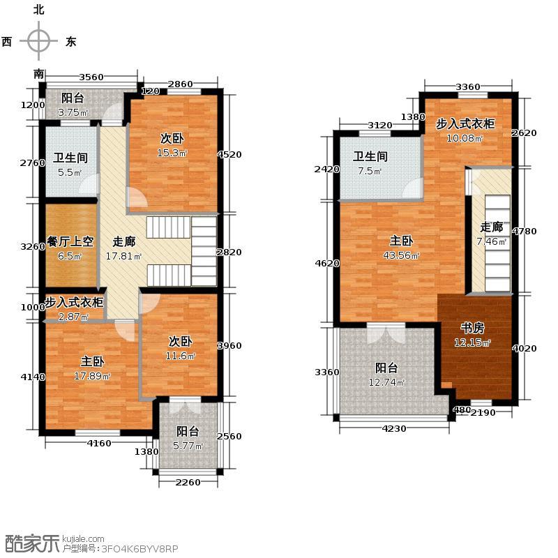 西溪玫瑰240.00㎡B3/B4二层及三层户型4室3厅4卫