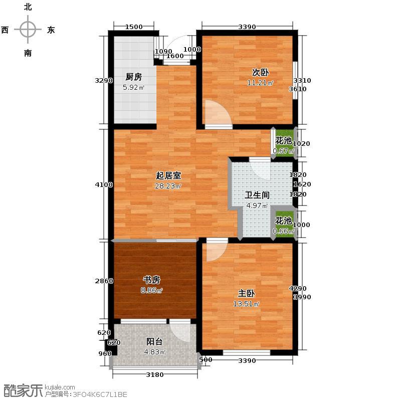 六合浅山100.00㎡高层B户型3室2厅1卫