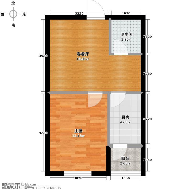 澳海西湖印象55.00㎡高层C9号楼R2户型1室1厅1卫1厨