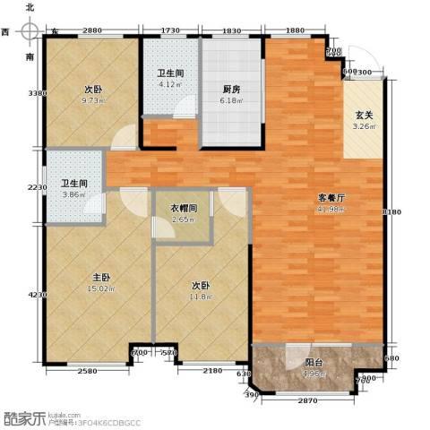 金地锦城3室1厅2卫1厨130.00㎡户型图