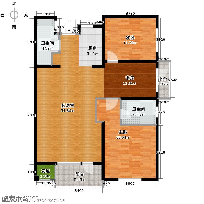 六合浅山133.00㎡高层C户型3室2厅2卫