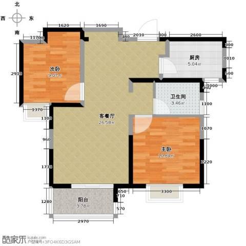 中铁滨湖名邸2室2厅1卫0厨84.00㎡户型图