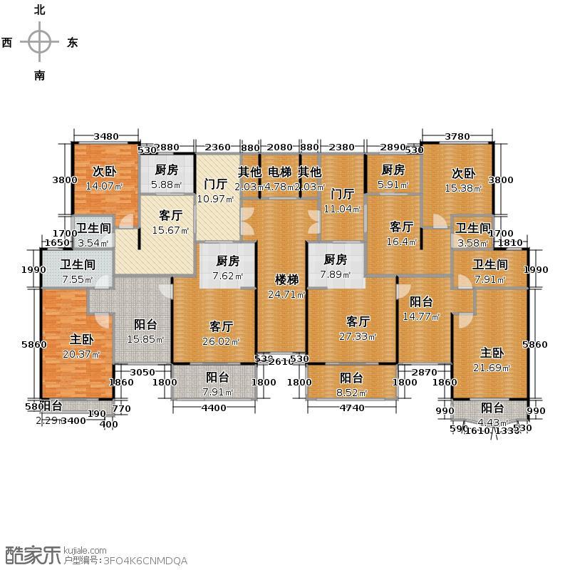 丽日坚美森林湖323.26㎡二期6座/19座A1/A2/B1/B2单位户型10室