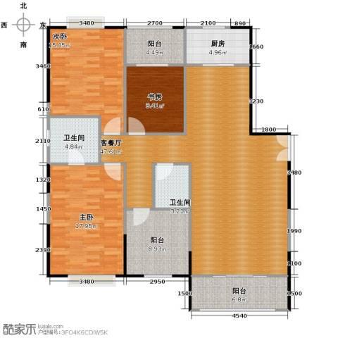 益华御才湾3室1厅2卫1厨158.00㎡户型图