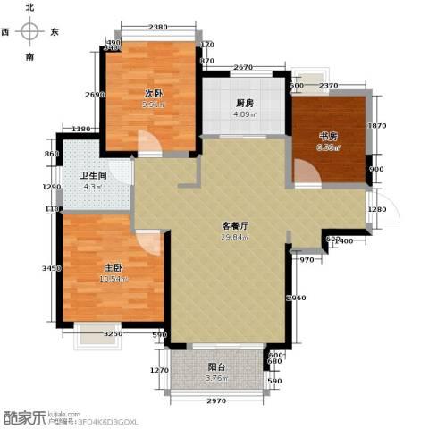 中铁滨湖名邸3室2厅1卫0厨99.00㎡户型图