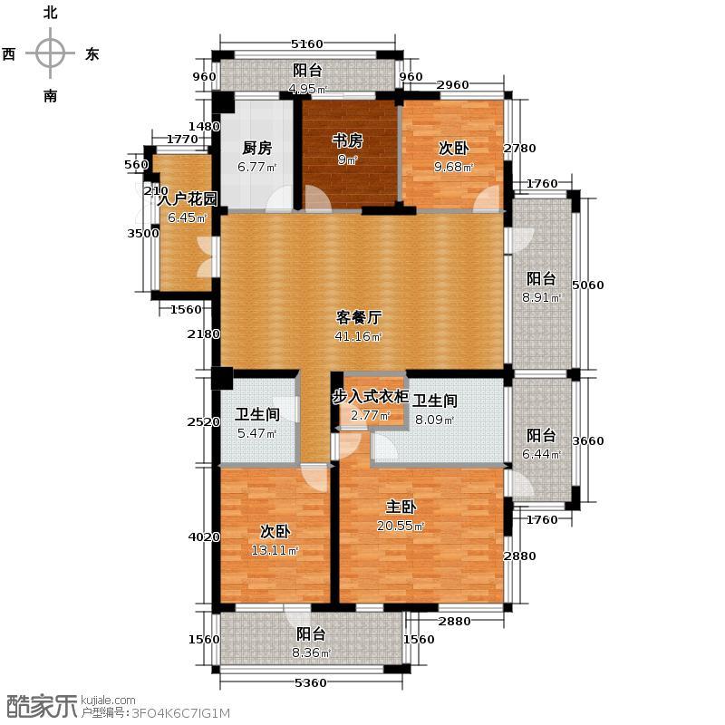 千岛湖柏润国际花园169.10㎡A2奇数层位于1、2、3号楼户型4室2厅2卫