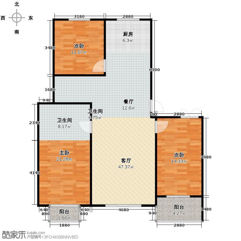 奥翔园133.29㎡户型3室2厅2卫