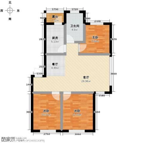 中央湖畔3室1厅1卫1厨97.00㎡户型图