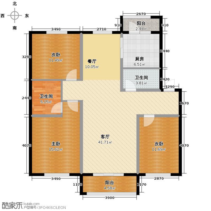 连泰美域123.29㎡D'户型3室2厅2卫